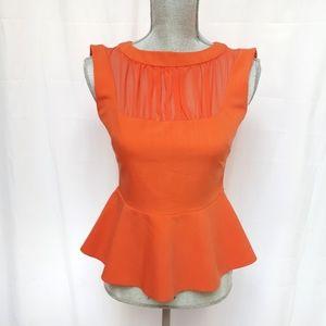 Orange Peplum Sleeveless Top Semi sheer